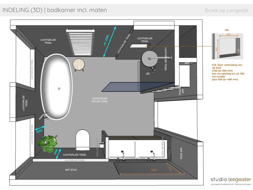 Indeling 3d Badkamer Incl Maten Vrijstaande Woning Broek Op Langedijk Studio Leegwater Conceptontwikkeling Interieurontwerp En Interieuradvies